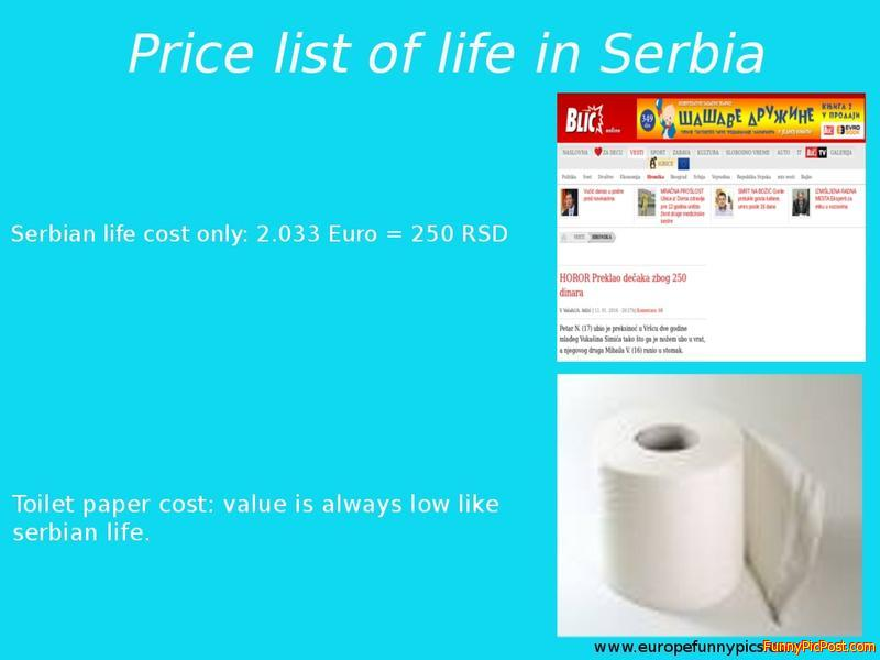 Price list of cost serbian life