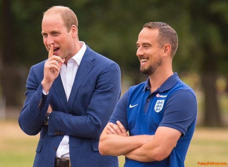 Prince William picking his nose.